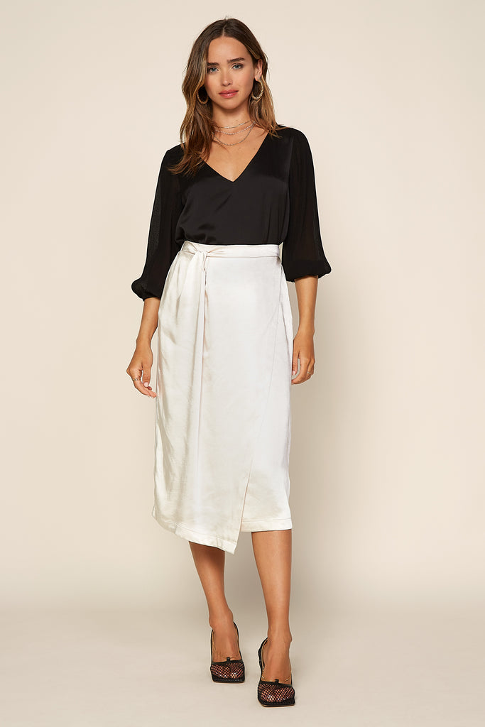 Satin Wrap Midi Skirt