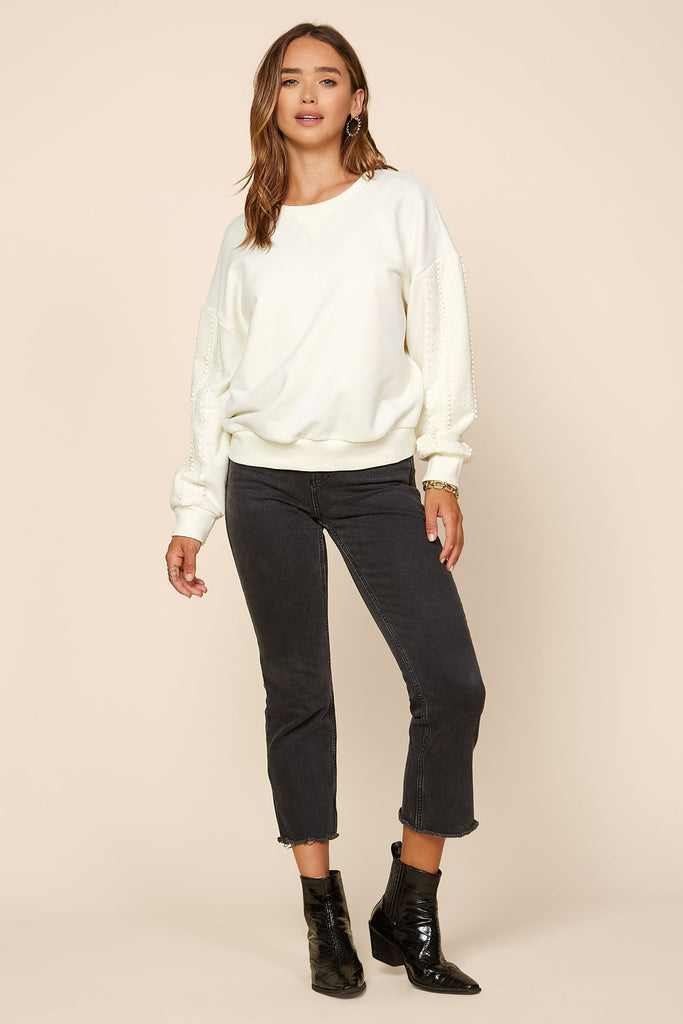 Eyelet Lace Sleeve Crewneck Sweater