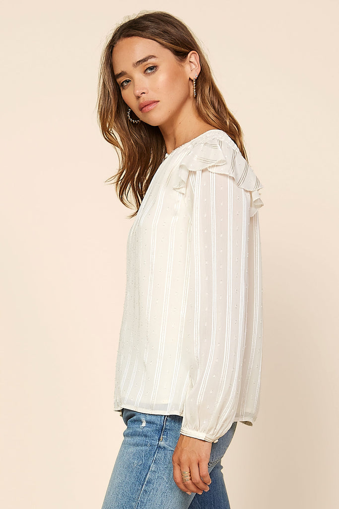Ruffle Cap Shoulder Blouse