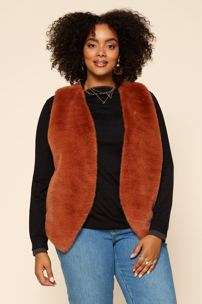 Plus Size-Faux Fur Vest with Pocket