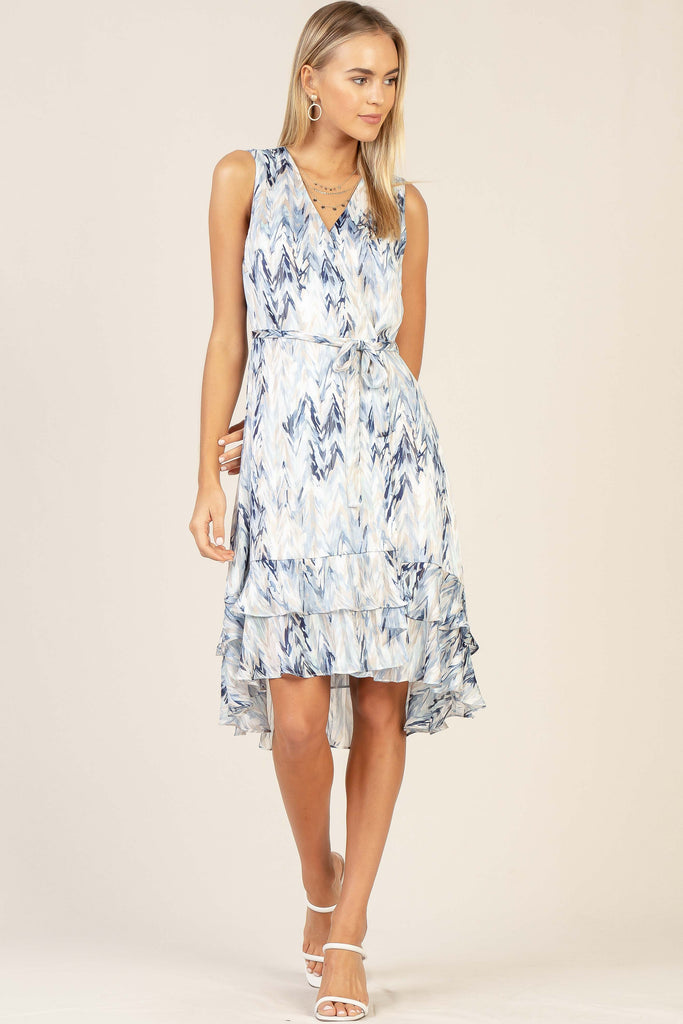 Watercolor Print Ruffle Mini Dress