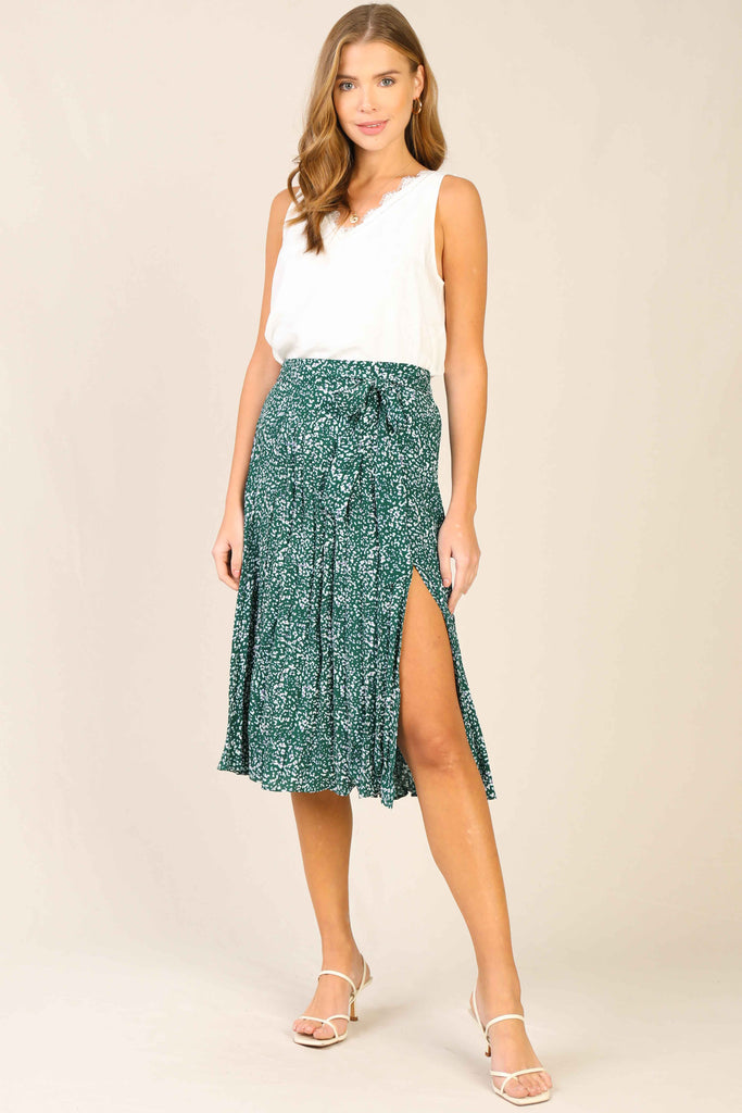 White Ditsy Floral Pleated Midi Skirt