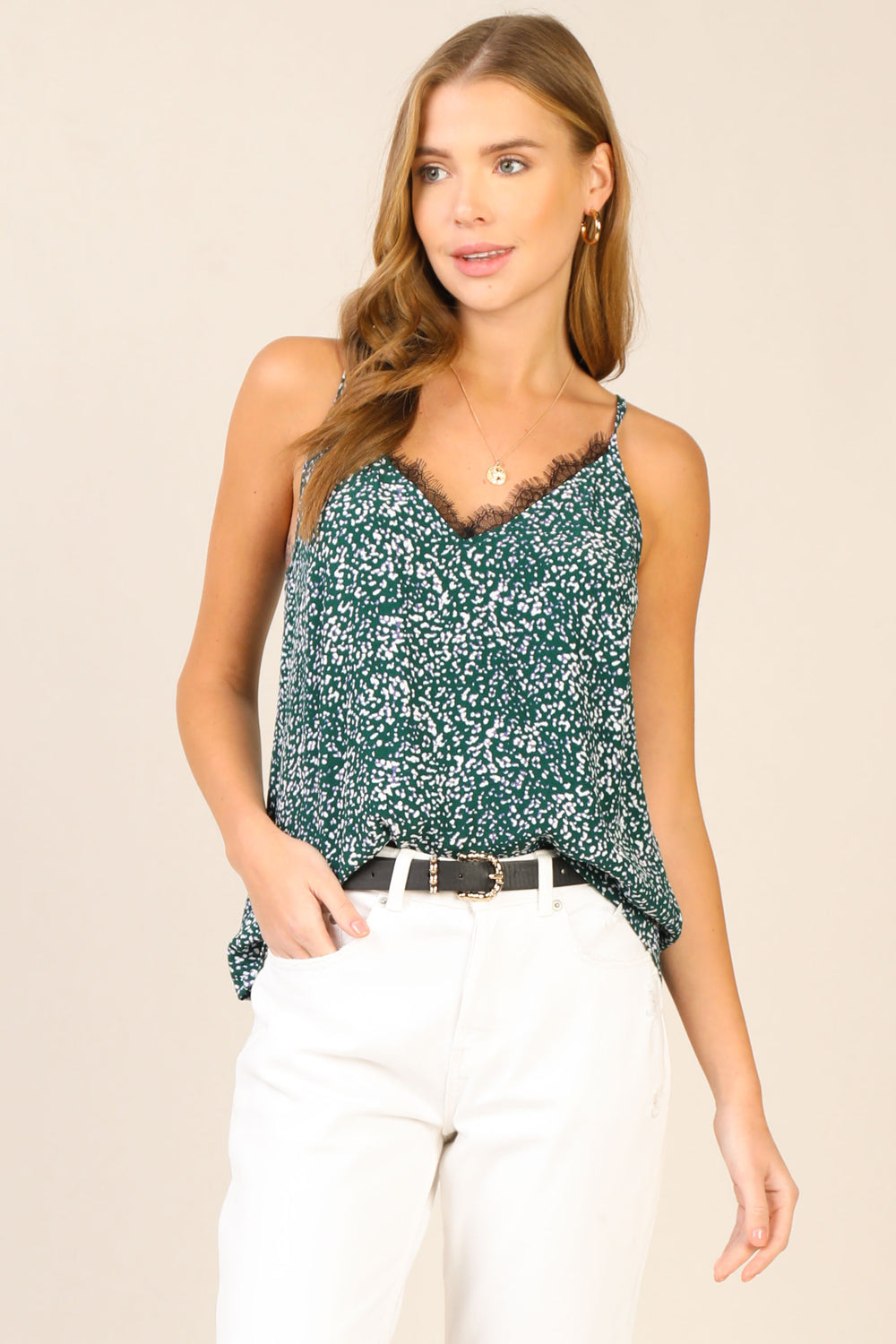Printed Lace Cami Top