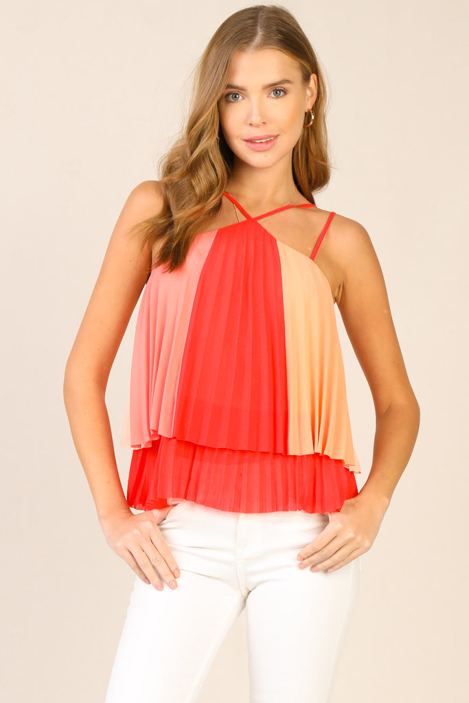 Halter Criss-Cross Pleated Top