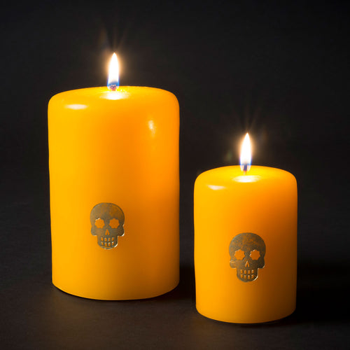 Embossed Skull Candle - Yellow