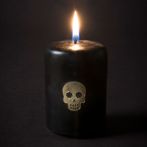 Embossed Skull Candle - Black