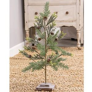 Glitter Pinecone Tabletop Tree Wooden Base Christmas Tree Winter Decor - Jam-Discount Home Decor