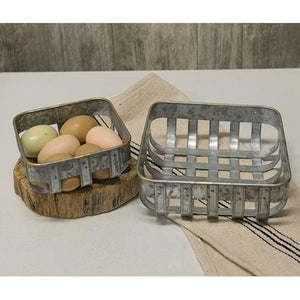 Washed Galvanized Metal Baskets 2 Set - Jam-Discount Home Decor