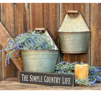 Galvanized Pocket Wall Tabletop Buckets - Jam-Discount Home Decor