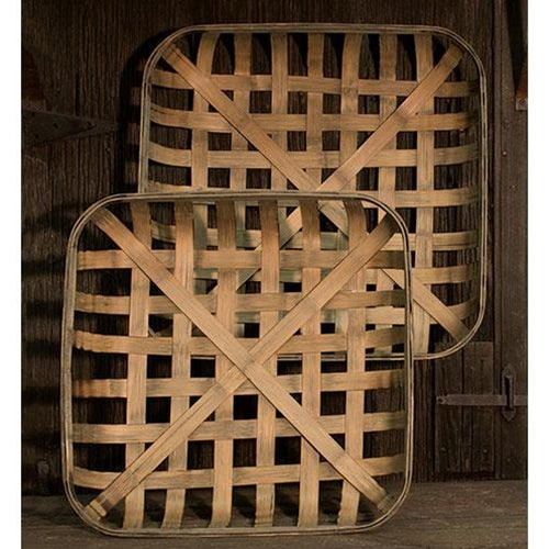 Country Square Wooden Wall Table Baskets 2 set - Jam-Discount Home Decor