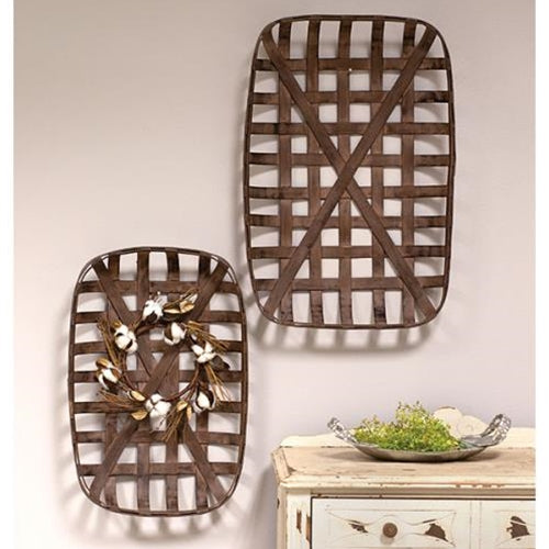Wall Baskets Farmhouse Dark Wood 2/Set - Jam-Discount Home Decor