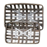 Gray Wash Wood Baskets w/Metal Strips 2 set - Jam-Discount Home Decor