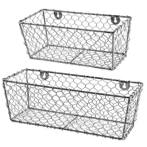 Weathered Galvanized Metal Wall Baskets 2 Set - Jam-Discount Home Decor