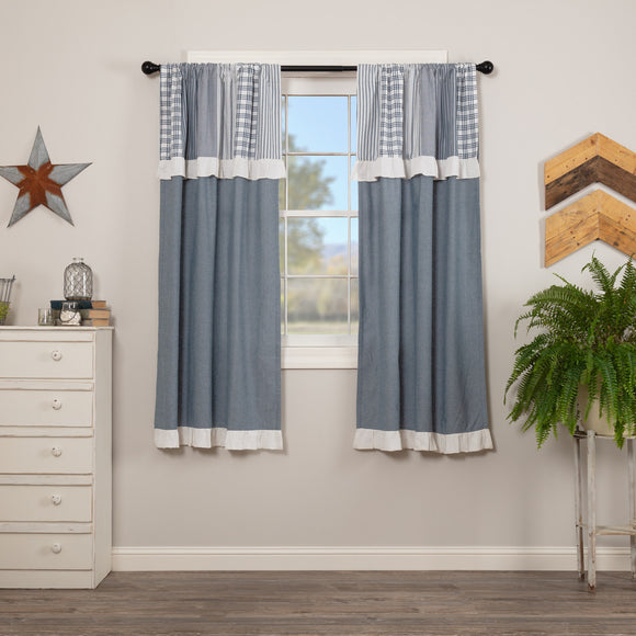 Sawyer Mill Blue Chambray Solid Short Panel Attached Patchwork Valance Set 2 63x36