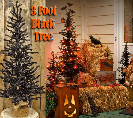 President Day Sale Black Pine 3 ft Trees 2 Set Halloween Porch Decor - Jam-Discount Home Decor
