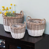 White Dipped Willow Gathering 3/Set Basket Planters