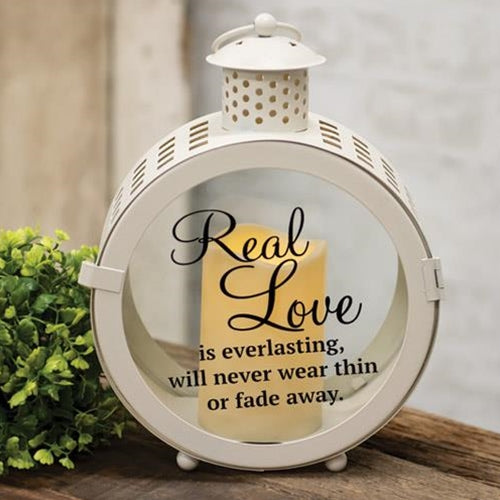 Real Love White Round Lantern Glass With Pillar Candle - Jam-Discount Home Decor