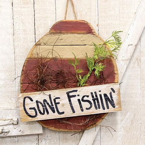 Gone Fishin Wooden Bobber Wall Sign