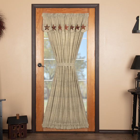 Abilene Star Door Curtain Panel Attached Valance - Jam-Discount Home Decor