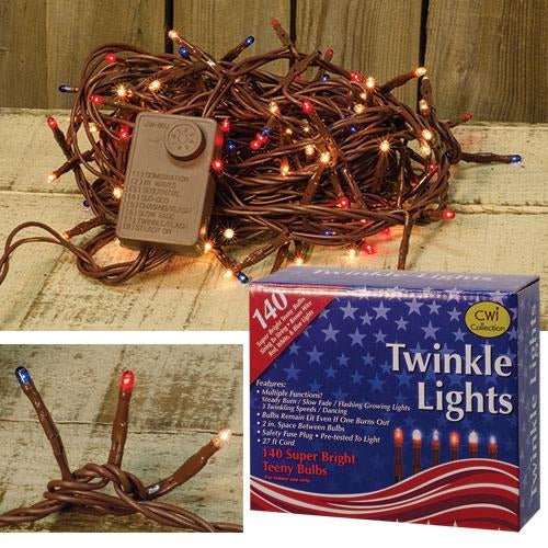 Americana Red White Blue Twinkle Lights 140ct - Jam-Discount Home Decor