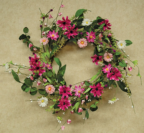 Aster Daisy Wreath Silk Flowers 18
