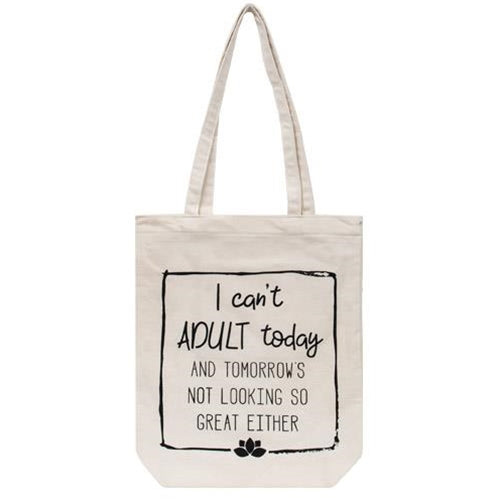 Can't Adult Today Canvas Tote Handbag Shopping
