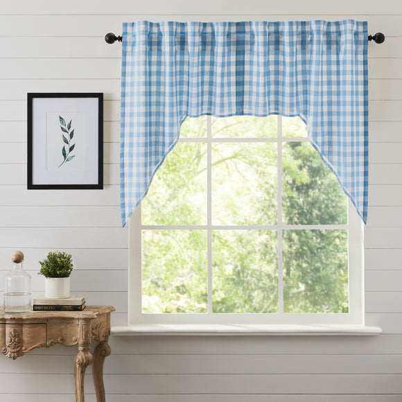 Farmhouse Kitchen Annie Buffalo Blue Check Swag Set 36x36x16