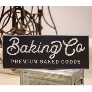 Black and Galvanized Metal Baking Co Sign - Jam-Discount Home Decor