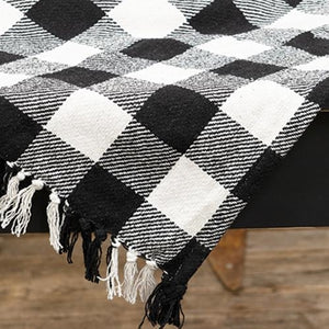 "Black & White Buffalo Check Table Square 52"" Farmhouse Fall"