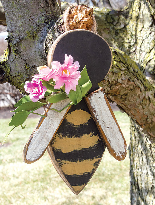 USA Made Hanging Distressed Wood Bee With Floral