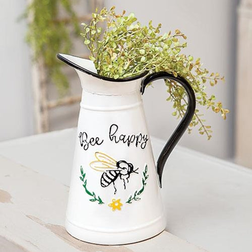 Bee Happy Enamel Pitcher 10.5