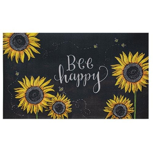 Hippie Chic Bee Happy Cotton Rug Bee Sunflower Porch Decor