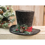 Snowman Black Top Hat Christmas Tree Topper Centerpiece - Jam-Discount Home Decor