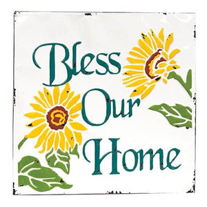 Sunflowers Bless Our Home Vintage Metal Wall Plaque - Jam-Discount Home Decor
