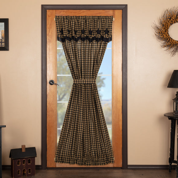 Black Star Door Panel Curtain with Attached Scalloped Layered Valance 72x42 - Jam-Discount Home Decor