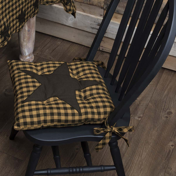 Farmhouse Kitchen Checked Black Star Chair Pad