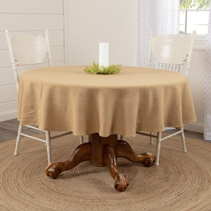 "Rustic Kitchen Burlap Natural Round Tablecloth 70"" D - Jam-Discount Home Decor"