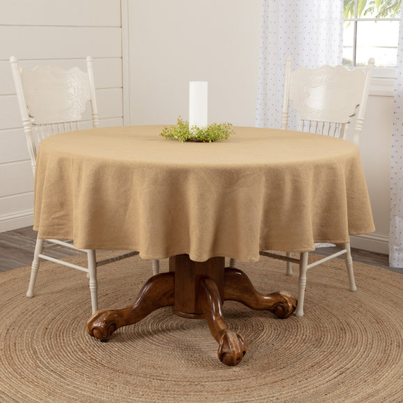 Rustic Kitchen Burlap Natural Round Tablecloth 70