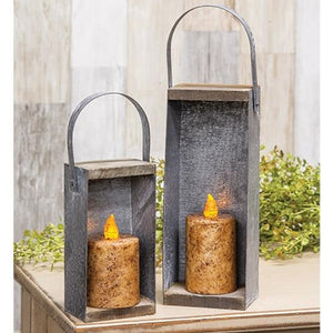 Galvanized Metal Rustic Candle Boxes 2 Set - Jam-Discount Home Decor