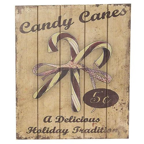 Nostalgic Holiday Candy Canes 5 Cents Wood Sign - Jam-Discount Home Decor