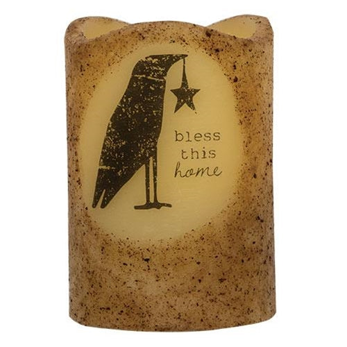 Bless This Home Crow Pillar Flameless Candle Farmhouse