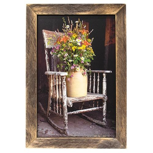 Shabby Chic Framed Rocking Chair Flowers Print Wall Art - Jam-Discount Home Decor
