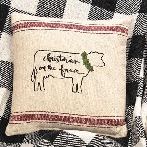 Christmas on the Farm Pillow Red Stripes Cow Design 10