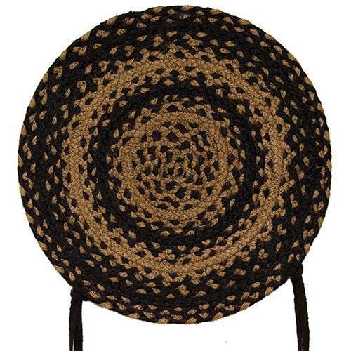 Black Tan Braided Ebony Chair Pad 4 set - Jam-Discount Home Decor