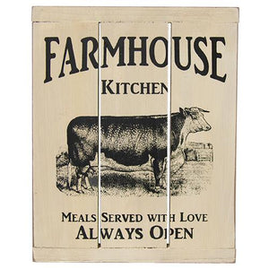 Farmhouse Kitchen Painted Slatted Wood Cow Kitchen Sign - Jam-Discount Home Decor