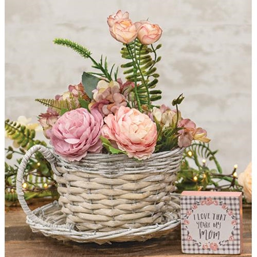 Gray Willow Cup & Saucer Flower Planter Wedding Porch Floral Mothers Day