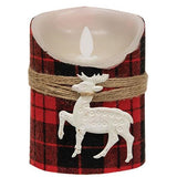 Buffalo Check Deer Lodge LED Flicker Pillar Candle 2 Sizes