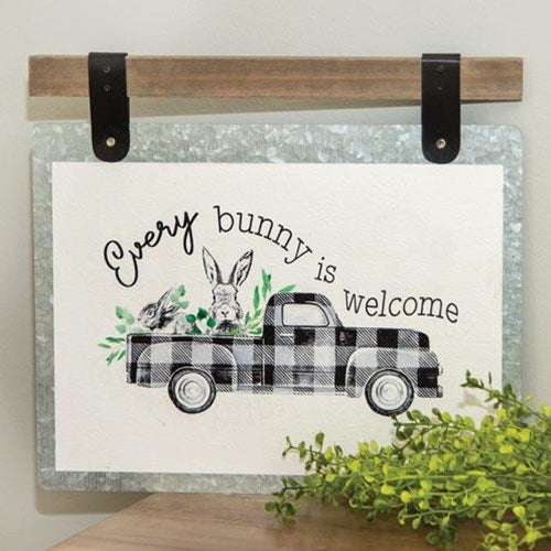 Galvanized Metal Wall Sign Every Bunny Is Welcome & Truck Decor Farmhouse