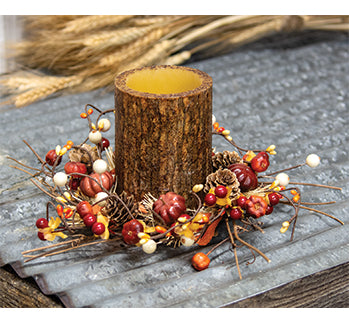 Fall Harvest Timer Pillar Candle Ring Set