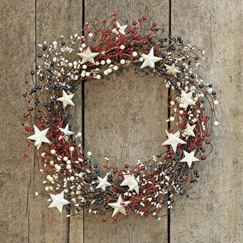 Americana Berry Patriotic floral Wreath Metal Stars 22